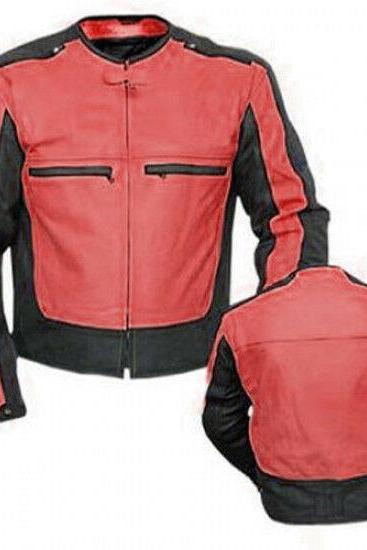Handmade Men's Two Tone Colors Motor Biker Genuine Leather Safety Pads Jacket