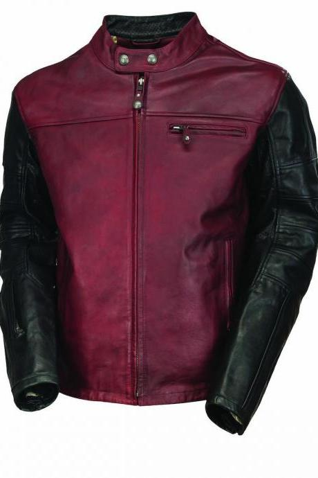Handmade Men's Maroon Black Cont Motorcycle Front Zipper Genuine Leather Safety Pads jacket