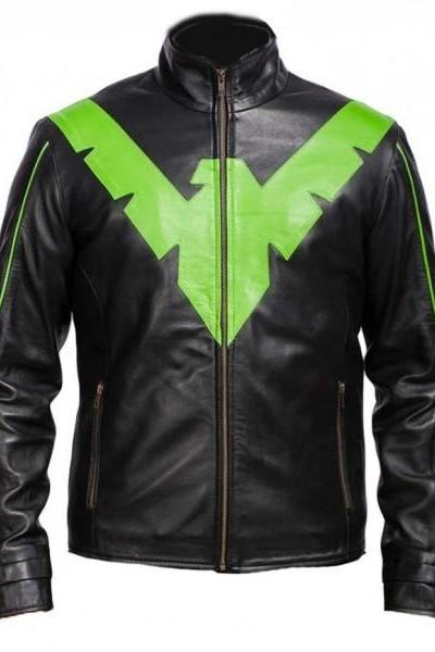 Handmade Men's Dick Grayson Nightwing Jacket With Eagle Front Green