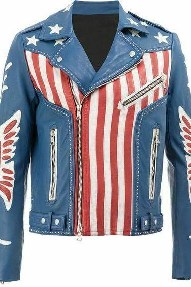 Men's Handmade Biker Jacket Balmain American Flag Print Leather Fashion Stylish
