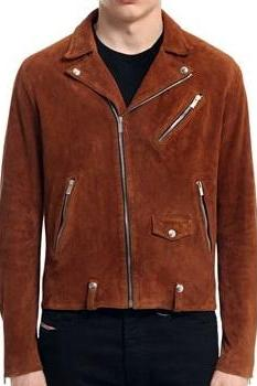 Handmade Men's Trendy Brown Suede Men's Fasion Leather Jacket