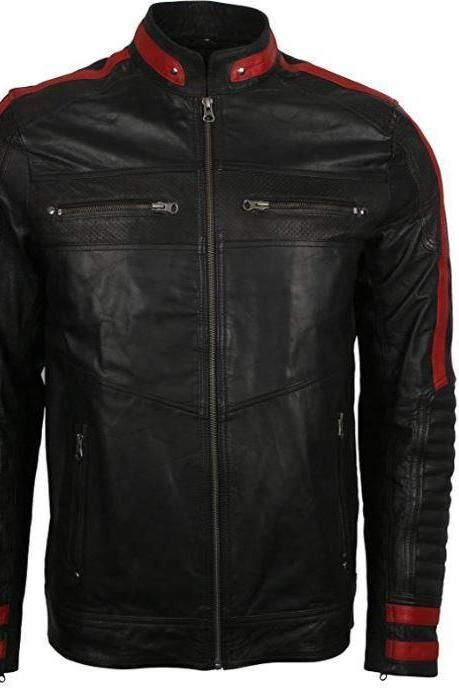 Handmade Men's Leather Jacket Black & Red Slim Fit Biker Vintage Motorcycle Cafe