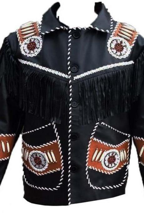 Handmade Men's Western Style Suede Leather Jacket Beads Cowboy Fringe Coat