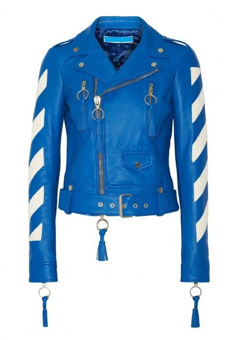 Handmade Woman's Cropped Tasseled Leather Biker Jacket, Bright Blue Color Jacket
