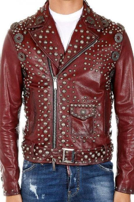 Handmade Men's Burgundy Color Belted Strap Rock Punk Studded Genuine Leather Jacket