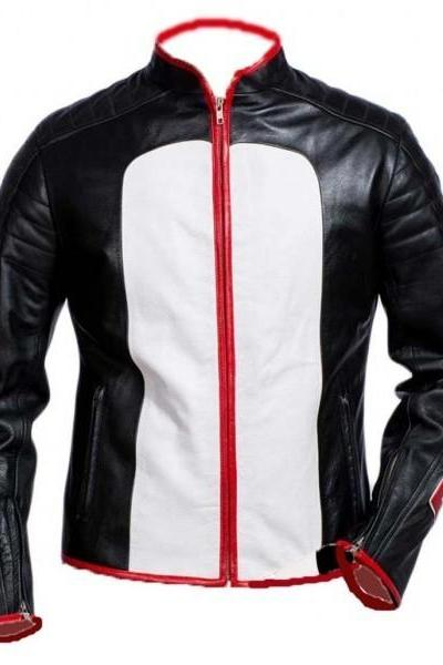 Handmade Men's Mister Terrific Black Leather Jacket. Men's Style Leather Jacket