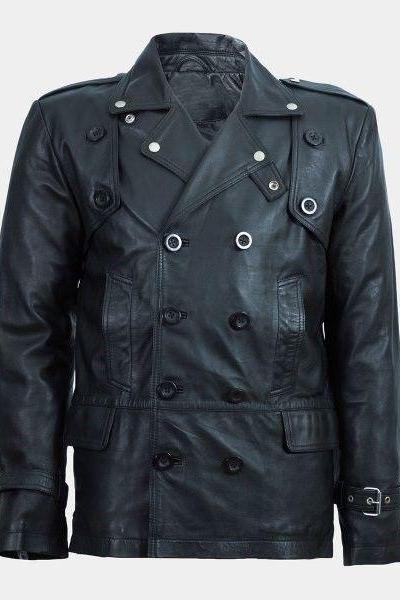 Handmade Men's Black Real Leather Trench Coat Jacket Motorcycle Racer Cafe Party