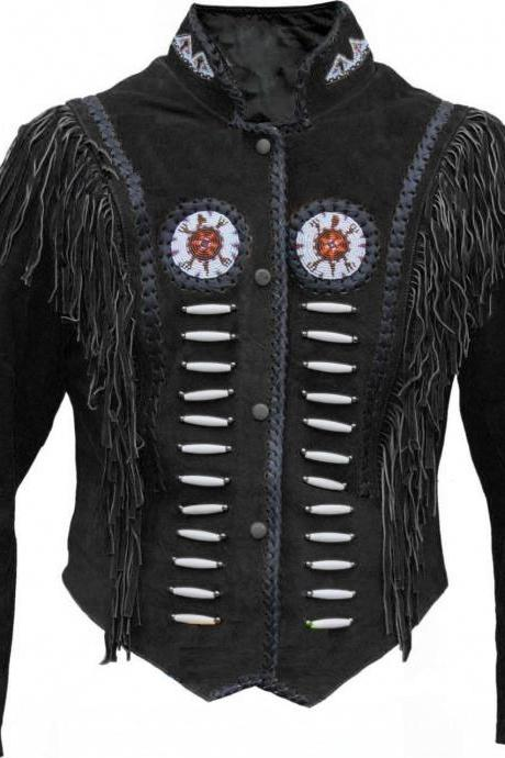 Men's Native American Black Beads Fringes Cow Suede Leather Jacket