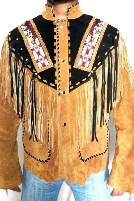 Handmade Men's Western wear Brown Suede Leather Jacket Fringe Eagle Beads Patches Bones