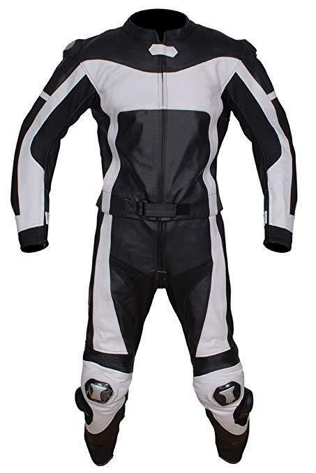 Handmade Men's Two Tone Black White Motorcycle Genuine Leather Pant Suit With Safety Pads