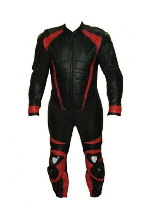 Handmade Men's Black Red Colors Motorcycle Genuine Pant Suit With Safety Pads Speed Hump