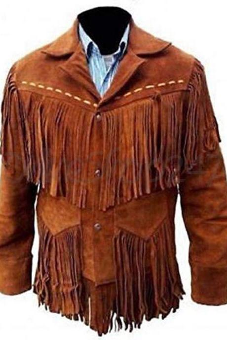 Handmade Men's Native American Western Style Scully Brown Suede Leather Jacket Fringes