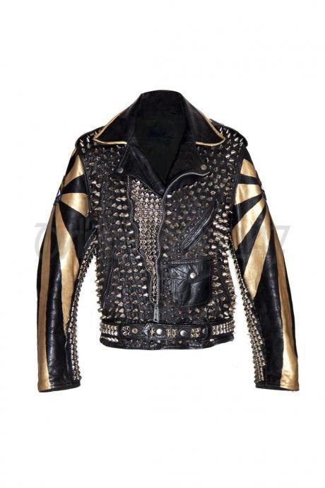 Handmade Men's Elevtric Eye Punk Gold Silver Full Spiked Studded Brando Leather Jacket