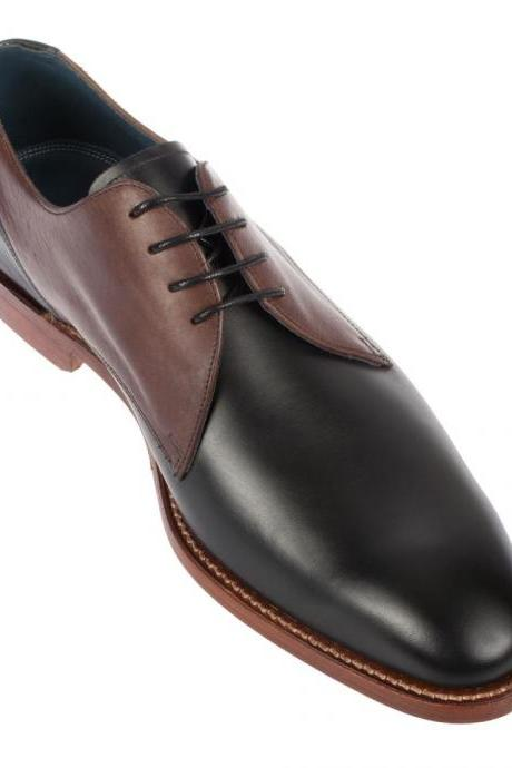 Handmade Mens Shoes, Mens Black And Brown Derby Shoes, Men Laceup Shoes, Men Leather Shoes