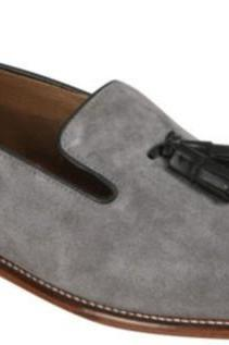 Handmade Men Light Gray Color Loafer And Slip Ons, Mens Gray Suede Leather Shoes.