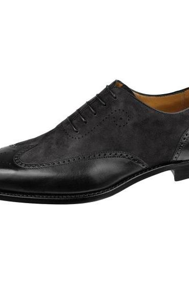 Handmade Men Wingtip Spectator Brogue Leather Shoes, Men Black Formal Shoes