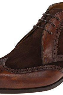 Handmade Men Brown Brogue Ankle Suede And Leather Chukka Boots, Men Ankle Dress Boots