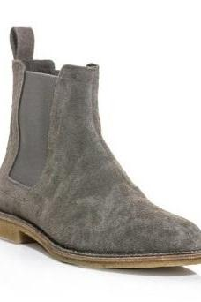 Handmade Mens Gray Chelsea Suede Leather Boots, Men Suede Leather Boot