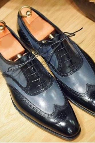 Handmade Men Two Tone Wing Tip Formal Shoes, Men Leather Dress Shoes