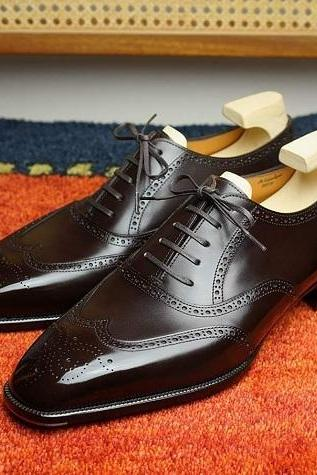 Handmade Men's Wing Tip Brogue Dress Shoes, Men Formal Shoes, Men's Dress Shoes