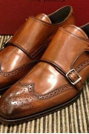 Handmade Men Tan Color Double Monk Formal Shoes, Men Monk Shoes, Men Dress Shoes