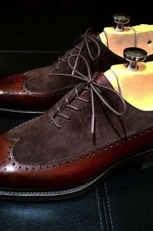 Handmade Men Wing Tip Brown Formal Shoes, Men Brown Dress Shoes, Men Leather Shoes