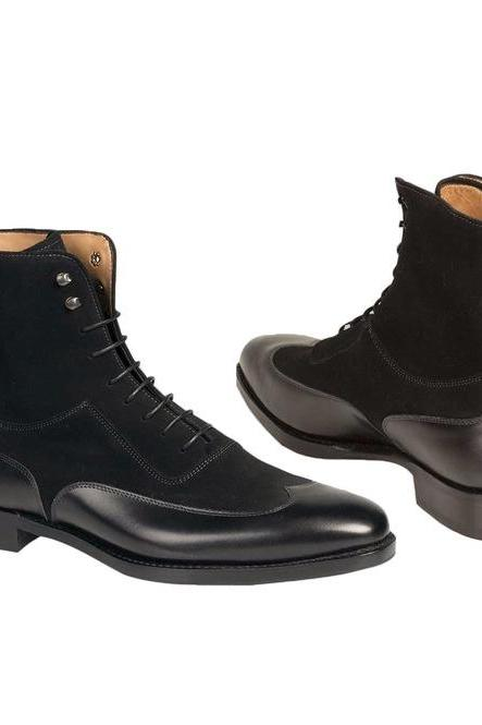 Handmade Mens Fashion Black Color Wing Tip Ankle Boots,Men Suede And Leather Boot