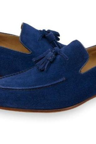 Handmade Mens Blue Suede Tassels Shoes Moccasins, Men Casual Suede Leather Shoes