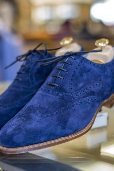 Handmade Mens Royal Blue Suede Shoes, Men Wingtip Royal Blue Party Shoes