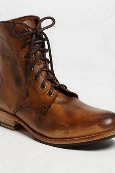 Handmade Mens Antique Brown Lace Up Boots, Men Brown Leather Ankle High Boots, Boots For Mens