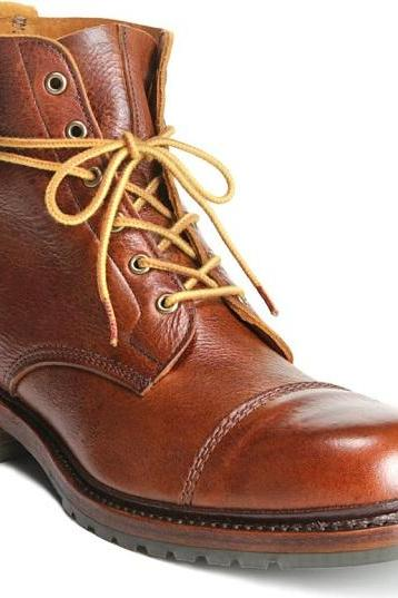 Handmade Men Dark Tan Biker Cap Toe Boots, Men Ankle Leather Boots, Mens Fashion Riding Boots