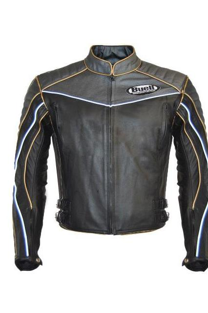 Handmade Men's Genuine Leather Black Buell leather Jacket