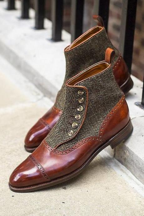 Handmade Men Burgundy Two Tone High Ankle Buttons Leather and Tweed Boots