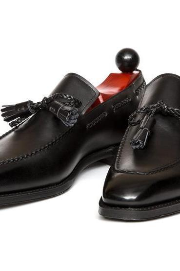 Handmade Men Black Loafer Shoes