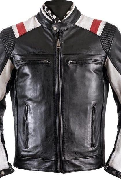 Handmade Men Black Leather Jacket