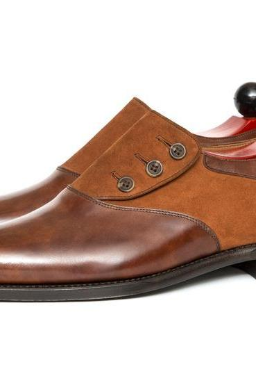 Handmade Men Brown Leather and Suede Button Shoes