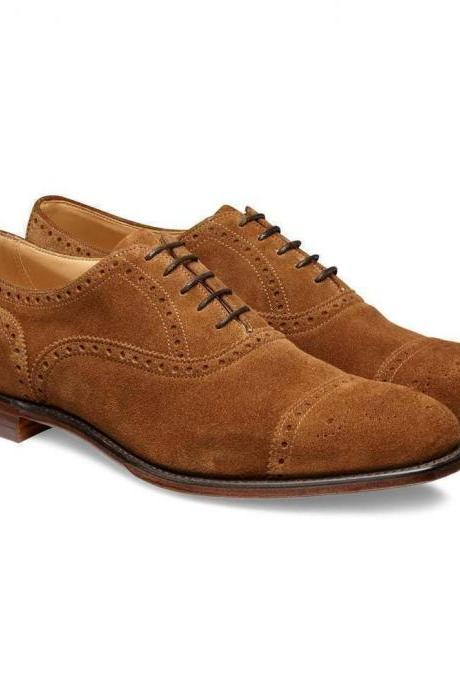 Handmade Men Brown Suede Dress/Formal Oxford Shoes