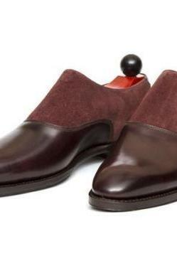 Handmade Men Leather and Suede Monkstrap Shoes