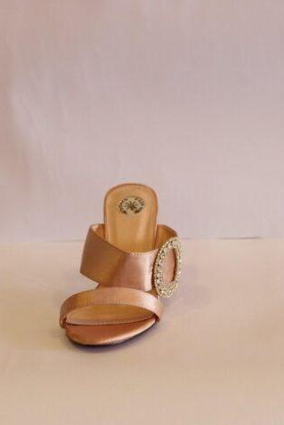 Satin Beige Slippers
