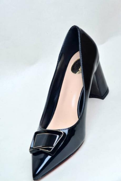 Black Pointed Nose Patent Leather Court Shoes