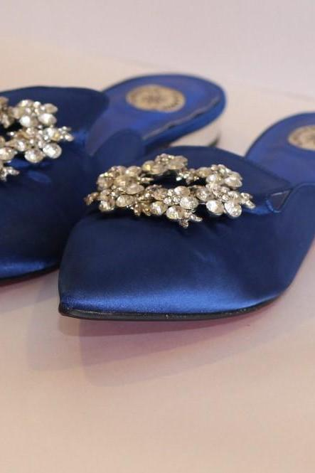 BLUE SATIN LADIES HALF SLIPPERS