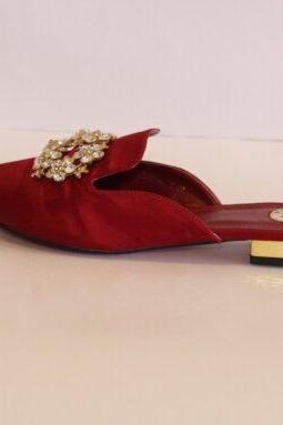RED SATIN LADIES HALF SLIPPERS