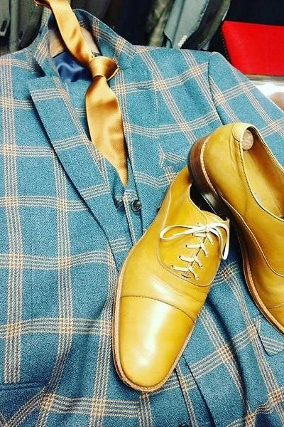 Handmade Men Yellow Leather Laceup Oxford Shoes