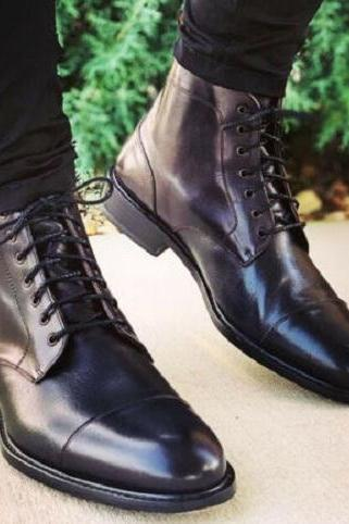Handmade Men Black Leather Laceup Highankle Boots