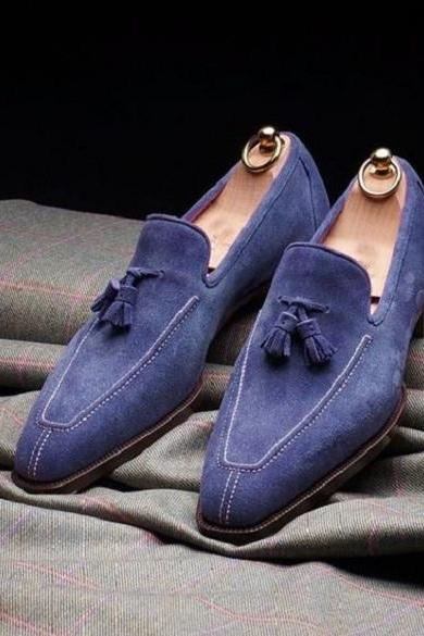 Handmade Men Blue Suede Tassels Loafers Shoes