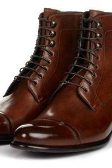 Handmade Men Brown Leather Laceup Highankle Boots