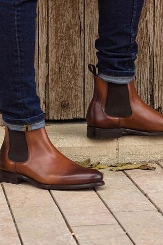 Handmade Men Brown Leather Slip Ons Highankle Boots