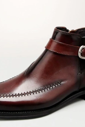 Handmade Men Brown Leather Highankle Buckle Boots