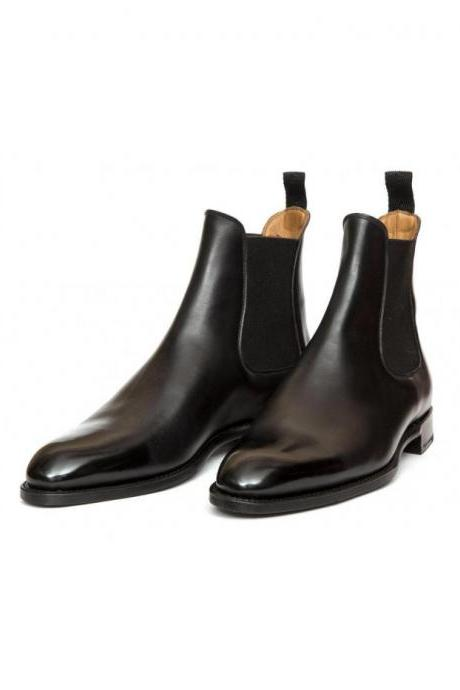 Handmade Men Black Leather High Ankle Boots