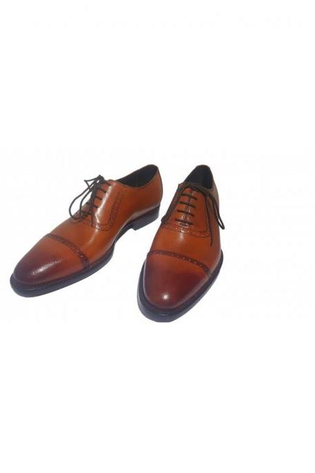Handmade Men Brown Leather Oxford Laceup Shoes